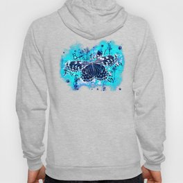 butterfly beautiful strong free splatter watercolor blue negative Hoody