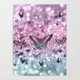Pastel Unicorn Butterfly Glitter Dream #2 #shiny #decor #art #society6 Poster