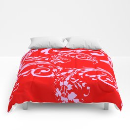 ORNATE PINK SCROLLS ON CHINESE RED ART DESIGN Comforters