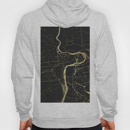 Prague Black and Gold Map Hoody