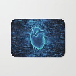 Gamer Heart BLUE TECH / 3D render of mechanical heart Bath Mat