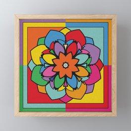 Happy Colorful Mandala Flower Ilustration Framed Mini Art Print