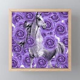 HORSES AND PURPLE ROSES AND HORSES Framed Mini Art Print