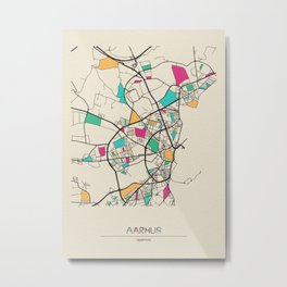 Colorful City Maps: Aarhus, Denmark Metal Print