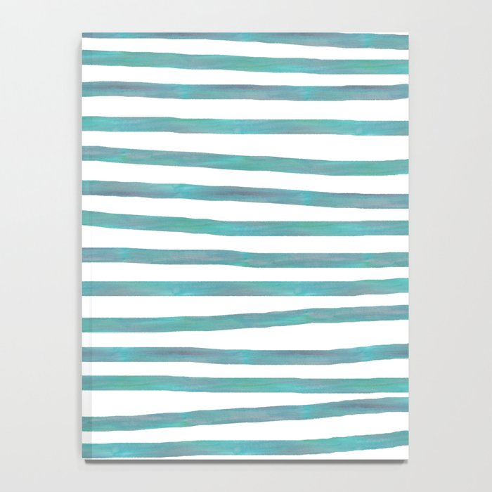 Ocean Green Hand-painted Stripes Notebook