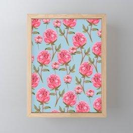 Pink Peonies On Blue Background Framed Mini Art Print