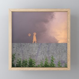 Sunset with girl walking on a wall followed by a balloon Framed Mini Art Print