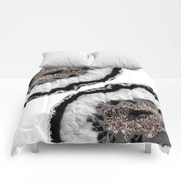 Gray Black White Agate Glitter Glamor #4 #gem #decor #art #society6 Comforters