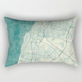 Tel Aviv Map Blue Vintage Rectangular Pillow