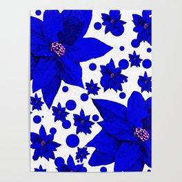 Poinsettia Blue Indigo Pattern Poster
