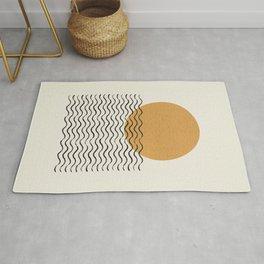 Ocean wave gold sunrise - mid century style Rug
