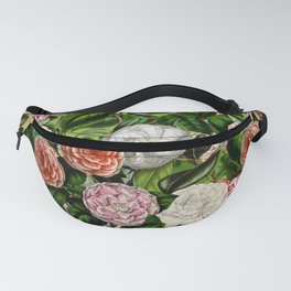 Vintage & Shabby Chic Green Dark Floral Camellia  Flowers Watercolor Pattern Fanny Pack