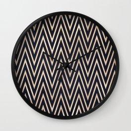 Navy Gold Chevron Pattern Wall Clock