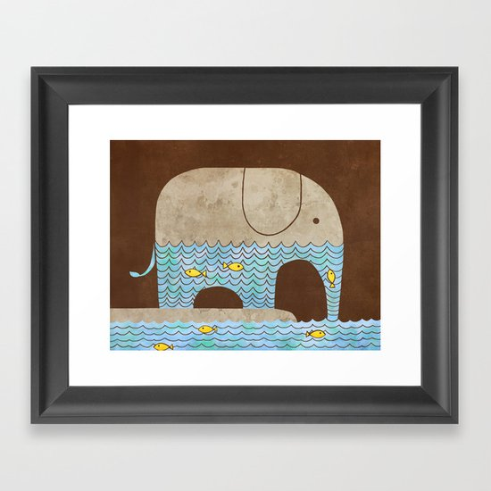 Thirsty Elephant - colour option Framed Art Print