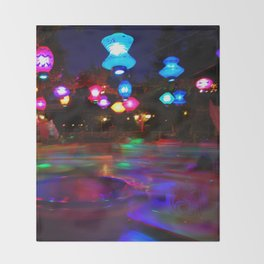 Teacups Blur at Night Throw Blanket