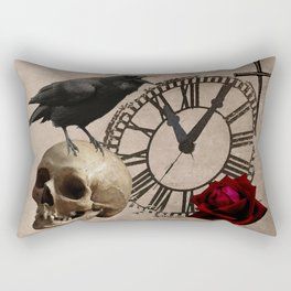 Gothic Black Crow Old Skull Red Rose Time Cross Art A553 Rectangular Pillow