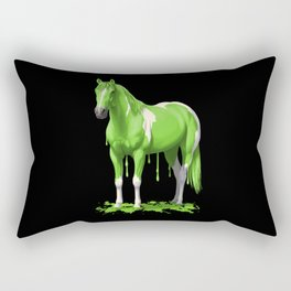 Neon Green Wet Paint Horse Rectangular Pillow