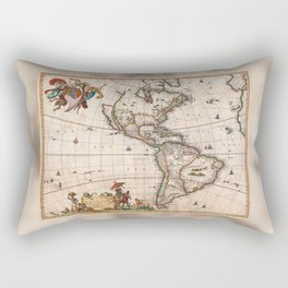 North & South America map 1658 with 2017 enhancements Rectangular Pillow