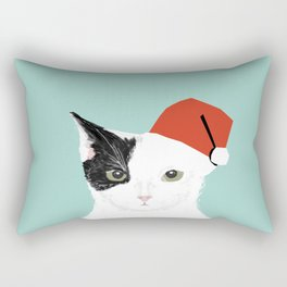 Christmas Cat black and white mint kids children art cat lady gift idea for the holidays purrfect  Rectangular Pillow