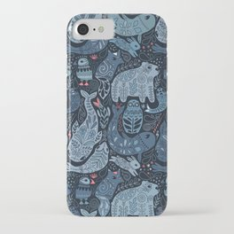 Arctic animals. Polar bear, narwhal, seal, fox, puffin, whale iPhone Case