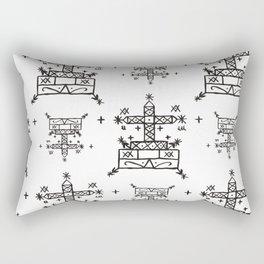 Baron Samedi Voodoo Veve Symbols in White Rectangular Pillow