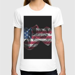 USA Smoke Flag on Black Background, USA flag T-shirt