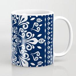 Oriental Damask white on blue #3 Coffee Mug