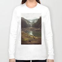 art Long Sleeve T-shirts featuring Foggy Forest Creek by Kevin Russ