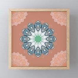 Simply Inhale Meditation Floral Peach Mandala Framed Mini Art Print
