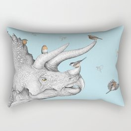 Triceratops and Birdies Rectangular Pillow