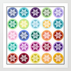 Colorful Snowflake Print Art Print