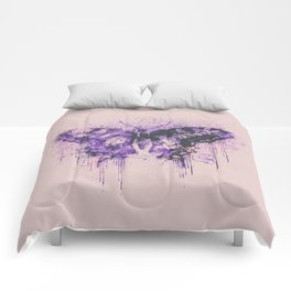 Artsy Butterfly Mixed Media Art  pastel pink and purple Comforters