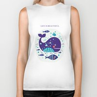 whales Biker Tanks featuring Whales by Molesko Studio