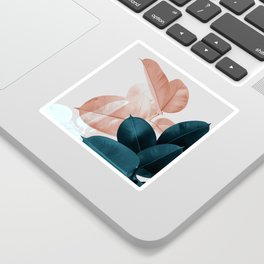 Blush & Blue Leaves Sticker