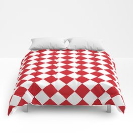 Diamonds - White and Fire Engine Red Comforters