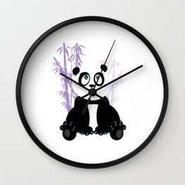 Panda Girl - Purple Wall Clock