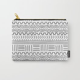Mud Cloth on White Carry-All Pouch