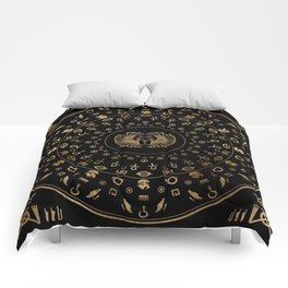Golden Egyptian Scarab Beetle - in circular pattern Comforters