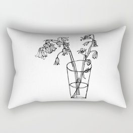 Bluebells Botanical Flower Illustration - Continuous Line Drawing - Floral Sketch Rectangular Pillow