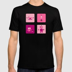 Robots-Pink Black Mens Fitted Tee MEDIUM