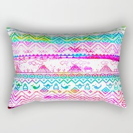 bohemian pattern in pink and turqupise soft colors Rectangular Pillow