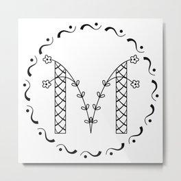 M - decorative monogram. Metal Print