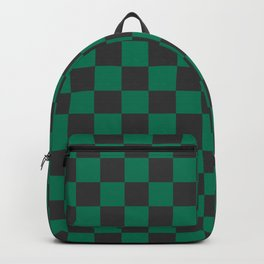 Green checkered Backpack