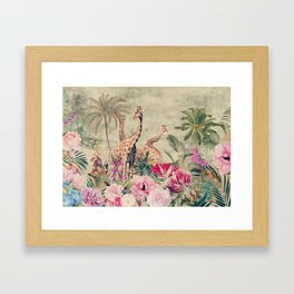 Vintage & Shabby Chic - Tropical Animals And Flower Garden Framed Art Print