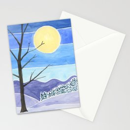 Solitary Tree Under a Full Moon Watercolor Landscape Painting Stationery Cards
