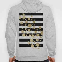Faux Gold Paint Splatter on Black & White Stripes Hoody