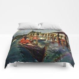 Waterway At Dusk Comforters