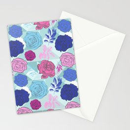 Beautiful Blue and Pink Floral Pattern Stationery Cards