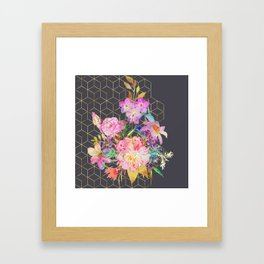 Modern watercolor floral and gold geometric cubes Framed Art Print