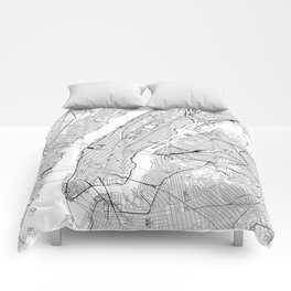 New York City White Map Comforters
